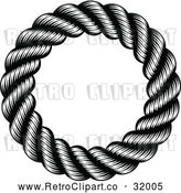 Vector Clip Art of a Retro Black Round Nautical Rope Frame by AtStockIllustration