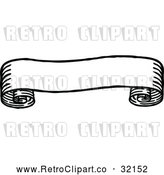 Vector Clip Art of a Retro Black Scroll Banner by AtStockIllustration