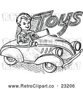 Vector Clip Art of a Retro Boy Driving a Toy Car by Prawny Vintage