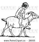 Vector Clip Art of a Retro Boy Riding Goat by Prawny Vintage