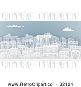 Vector Clip Art of a Retro City with Georgian Homes in a Neighborhood by AtStockIllustration