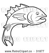 Vector Clip Art of a Retro Fish Leaping and Descending Back to Water by AtStockIllustration