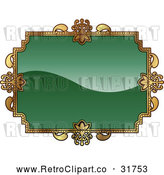 Vector Clip Art of a Retro Green and Gold Frame with Blank Space for Text by AtStockIllustration