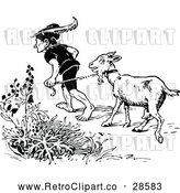 Vector Clip Art of a Retro Man Leading a Goat by Prawny Vintage