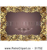 Vector Clip Art of a Retro Mauve and Gold Butterfly Frame with Copyspace by AtStockIllustration