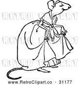 Vector Clip Art of a Retro Mouse Lady by Prawny Vintage