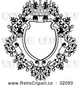 Vector Clip Art of a Retro Ornate Vintage Floral Frame with a Crown in Black Lineart by AtStockIllustration
