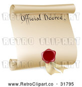 Vector Clip Art of a Retro Paper Official Decree Scroll with Blood Red Wax Seal by AtStockIllustration