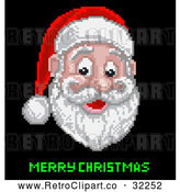 Vector Clip Art of a Retro Pixelated Santa with Merry Christmas Text by AtStockIllustration