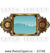 Vector Clip Art of a Retro Turquoise and Gold Frame with Copyspace by AtStockIllustration