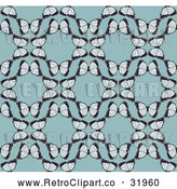 Vector Clip Art of a Seamless Retro Background Pattern of Butterflies Forming Circles over Blue by AtStockIllustration