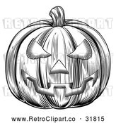 Vector Clip Art of a Traditionally Carved Retro Halloween Jackolantern Pumpkin - Black and White Version by AtStockIllustration