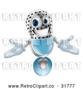 Vector Clip Art of a Welcoming Retro 3d Silver and Blue Microphone Mascot by AtStockIllustration
