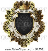 Vector Clip Art of an Ornate Retro Black and Gold Scroll Frame by AtStockIllustration