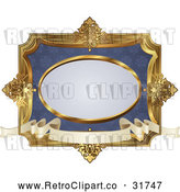 Vector Clip Art of an Ornate Retro Blue and Gold Frame by AtStockIllustration