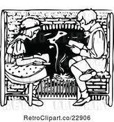 Vector Clip Art of Boy and Girl Reading by a Fireplace by Prawny Vintage