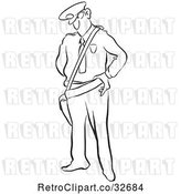 Vector Clip Art of Cartoon Police Guy Looking Stern by Picsburg