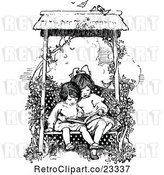 Vector Clip Art of Girls Reading a Book on a Garden Bench by Prawny Vintage