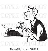 Vector Clip Art of Guy Using a Typewriter by Picsburg