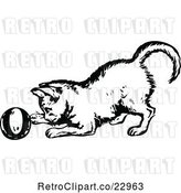 Vector Clip Art of Kitten Playing with a Ball by Prawny Vintage