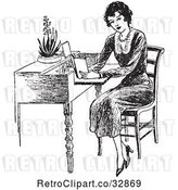 Vector Clip Art of Lady Reading at a Desk by Picsburg