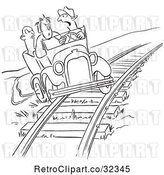 Vector Clip Art of Late Driver Taking the Railroad Tracks by Picsburg