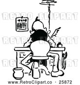 Vector Clip Art of Man Writing at a Desk by Prawny Vintage