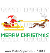 Vector Clip Art of Pixelated Retro Santa Claus Flying Sleigh with Merry Christmas Reindeer by AtStockIllustration