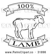 Vector Clip Art of Retro 100 Percent Lamb Food Banner - Black and White Version by AtStockIllustration