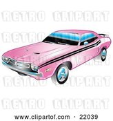 Vector Clip Art of Retro 1971 Dodge Challenger Muscle Car in Pink with Black Racing Stripes on the Sides by Andy Nortnik