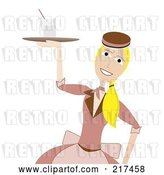 Vector Clip Art of Retro 50s Styled Waitress Carrying a Drink on a Tray by Mheld