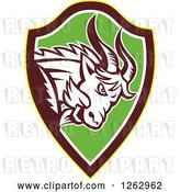 Vector Clip Art of Retro Aggressive Mountain Goat Ram in a Yellow Brown White and Green Shield by Patrimonio