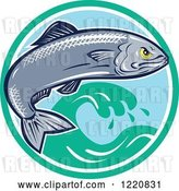 Vector Clip Art of Retro Aggressive Sardine Fish Jumping over Waves in a Circle by Patrimonio