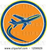 Vector Clip Art of Retro Airplane in Flight Inside a Yellow Blue White and Orange Circle by Patrimonio