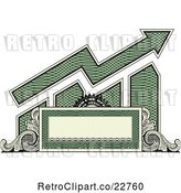 Vector Clip Art of Retro American Dollar Themed Bar Graph and Growth Arrow with a Blank Banner, Frame and Scrolls by BestVector