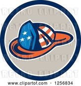 Vector Clip Art of Retro American Flag Patterned Firefighter Hat in a Blue White and Tan Circle by Patrimonio