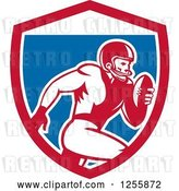 Vector Clip Art of Retro American Football Player Running in a Shield by Patrimonio