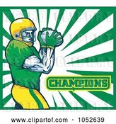 Vector Clip Art of Retro American Football Player with Champions Text Against White and Green Rays by Patrimonio