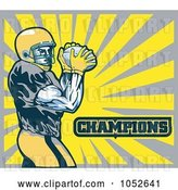 Vector Clip Art of Retro American Football Player with Champions Text Against Yellow and Gray Rays by Patrimonio