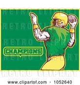 Vector Clip Art of Retro American Football Player with Champions Text on Green and Yellow by Patrimonio