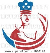 Vector Clip Art of Retro American Male Chef Holding a Spoon with Stars and Stripes by Patrimonio