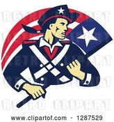 Vector Clip Art of Retro American Patriot Minuteman Revolutionary Soldier with a Flag Banner by Patrimonio