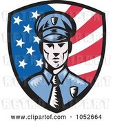 Vector Clip Art of Retro American Police Shield Logo by Patrimonio