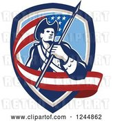 Vector Clip Art of Retro American Revolutionary Soldier Patriot Minuteman with a Long Flag in a Crest by Patrimonio