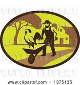 Vector Clip Art of Retro Amish Farmer Guy Pushing a Wheelbarrow with a Crowing Rooster on a Farm Within an Oval by Patrimonio