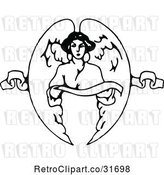 Vector Clip Art of Retro Angel Holding a Ribbon by Prawny Vintage