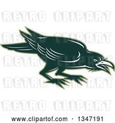 Vector Clip Art of Retro Angry Green Raven Crow Bird by Patrimonio