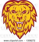 Vector Clip Art of Retro Angry Roaring Male Lion Face by Patrimonio