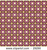 Vector Clip Art of Retro Background of Brown and Pink Floral Wallpaper by KJ Pargeter