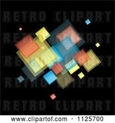 Vector Clip Art of Retro Background of Colorful Squares on Black 1 by Michaeltravers